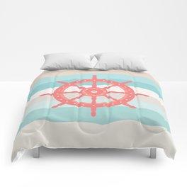 AFE Coral Helm Wheel, Nautical Art Comforters