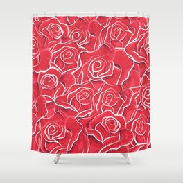 Roses hand drawn vintage illustration pattern  Shower Curtain