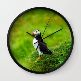 The Puffins of Mykines in the Faroe Islands IV Wall Clock