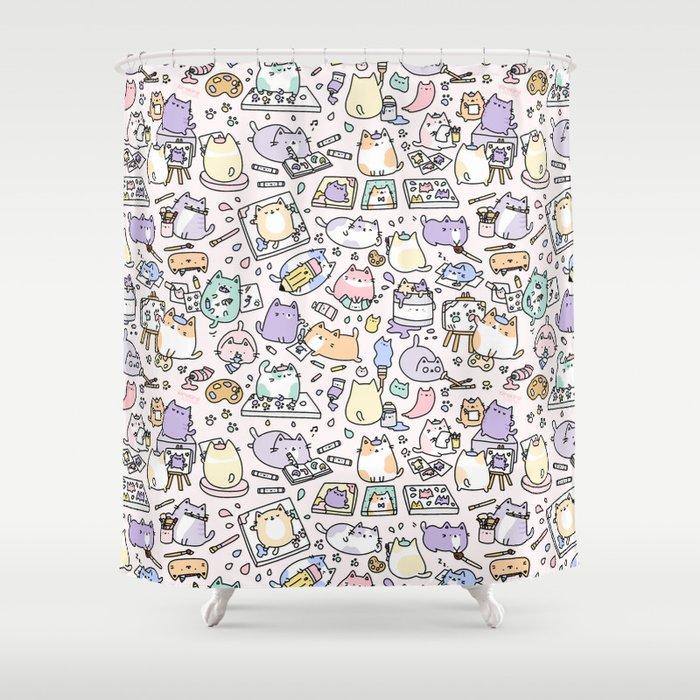 Artsy Cats Shower Curtain By Kirakiradoodles