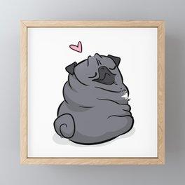 Roly Poly Black Pug Framed Mini Art Print