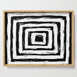 Minimal Black and White Square Rectangle Pattern Serving Tray