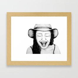 So Amused! Expressions of Happiness Series -Black and White Original Sketch Drawing, pencil/charcoal Framed Art Print
