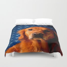 Golden Retriever blue bone background Duvet Cover