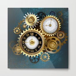Two Steampunk Clocks with Gears Metal Print