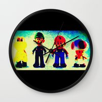 mario bros Wall Clocks featuring Super Mario Bros. by Silvio Ledbetter