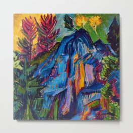 Floral Mountain Landscape with Blue Rocks by Ernst Ludwig Kirchner Metal Print