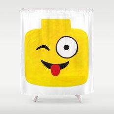 Winking Smile - Emoji Minifigure Painting Shower Curtain