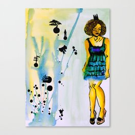 Princess, WatercolourTshit Fashion, Illustration, Urban Clothing, Mens Tshirts, street wear Canvas Print