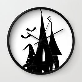 Halloween Princess Castle With Bats Wall Clock