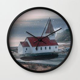 Floating Building in Vik Iceland Wall Clock