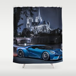 Exotic Ford GT Car Shower Curtain