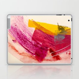 Pink Lemonade: a minimal, colorful abstract mixed media with bold strokes of pinks, and yellow Laptop & iPad Skin