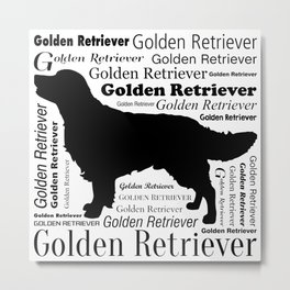 Golden Retriever Silhouette with Typography Metal Print