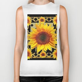 Black & Gold Sunflower Deco Art Biker Tank