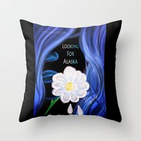 looking for alaska Throw Pillows featuring Looking For Alaska  by Lunah