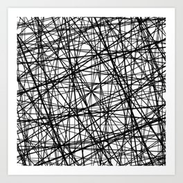 Geometric Collision - Abstract black and white Art Print