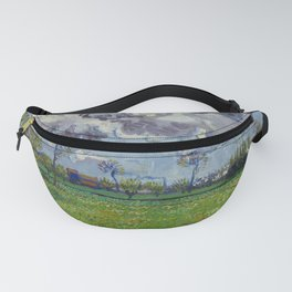 Meadow With Flowers Under a Stormy Sky Fanny Pack