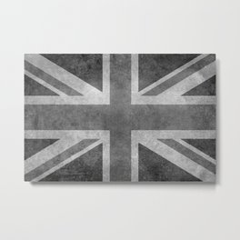Union Jack Vintage 3:5 Version in grayscale Metal Print