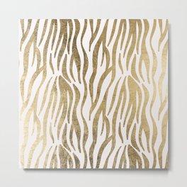 Chic faux gold white modern zebra animal print pattern Metal Print
