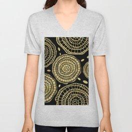 Gold Texture Modern Circles Pattern Unisex V-Neck