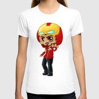 tony stark T-shirts featuring Tony Stark - Iron Hooded by Katie Mac Arts