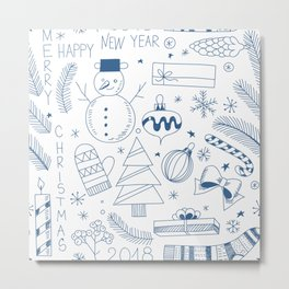 Doodle Christmas pattern blue Metal Print