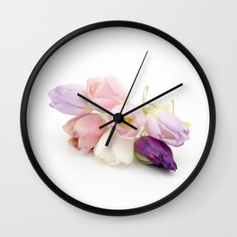 Pastel colored tulips bouquet isolated close front view Wall Clock