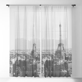 Paris City Sky // Eiffel Tower City Landscape Photography Shot from the top of Champs Elysees France Sheer Curtain