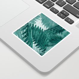 Turquoise Tropical Leaf print Sticker