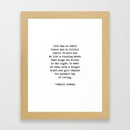 On Love, Kahlil Gibran Framed Art Print