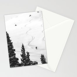 Backcountry Skier // Fresh Powder Snow Mountain Ski Landscape Black and White Photography Vibes Stationery Cards