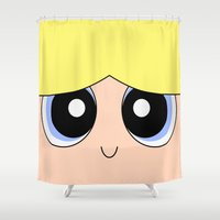 powerpuff girls Shower Curtains featuring Bubbles -The Powerpuff Girls- by CartoonMeeting
