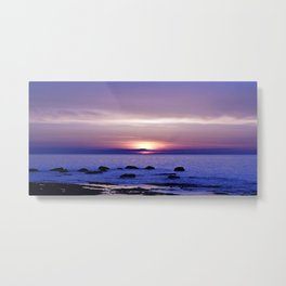 Blue and Purple Sunset on the Sea Metal Print