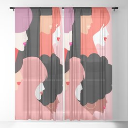 Together we persist  #girlpower Sheer Curtain