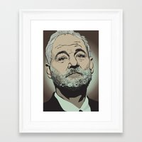 murray Framed Art Prints featuring Bill Murray  by Jordan McLaughlin
