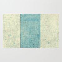 kansas Area & Throw Rugs featuring Kansas State Map Blue Vintage by City Art Posters