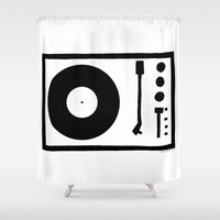 record Shower Curtains featuring 'Record Player' by Ben Rowe