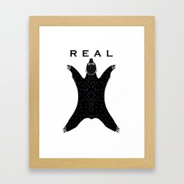 Real bear black and white Framed Art Print