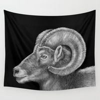 ram Wall Tapestries featuring Ram by Tim Jeffs Art