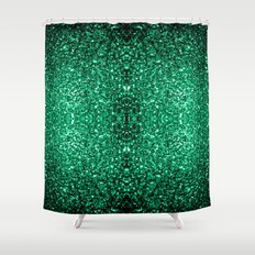 Beautiful Emerald Green glitter sparkles Shower Curtain