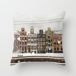 Amsterdam in the snow Throw Pillow