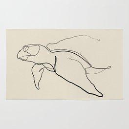 The Sea Turtle Line - Black & White Rug