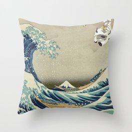 The Great Wave Off Katara Throw Pillow