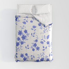 Delft/Chinoiserie Inspired Blue Floral Pattern Comforters