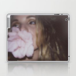 Girl with the flower in her mouth Laptop & iPad Skin