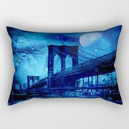 Full Moon Over Brooklyn Bridge Rectangular Pillow