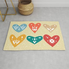Cute Scandinavian Boho Colorful Hearts for Valentines Day Rug