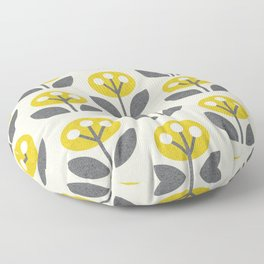 Mod Flowers in textured yellow and gray ©studioxtine Floor Pillow