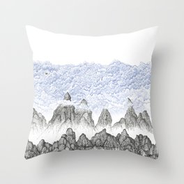 Cobalt Coudy Mountains 2: Lake Throw Pillow